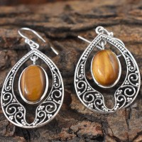 Tiger Eye Oval Gemstone 925 Sterling Silver Earring