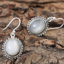 Natural White Moonstone Oval Cabochon 925 Sterling Silver Earring!!