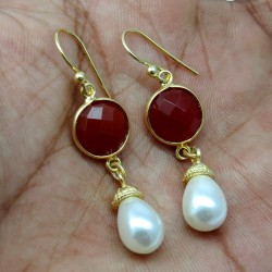 Lovely Color Of !! Red Carnelian, White Pearl 925 Sterling Silver Earring