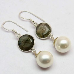 Morning Frost !! White Pearl,Labradorite 925 Sterling Silver Earring