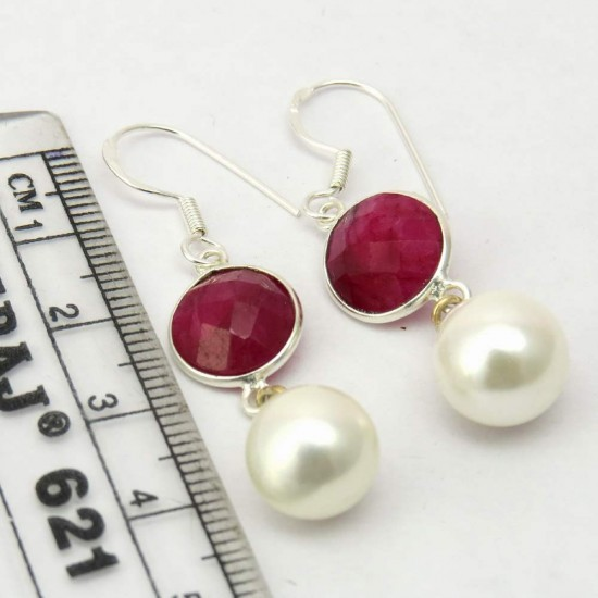 Loyal Love Style !! Pearl, Dyed Ruby 925 Sterling Silver Earring