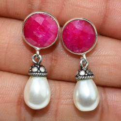 Perfect Pearl, Dyed Ruby 925 Sterling Silver Earring