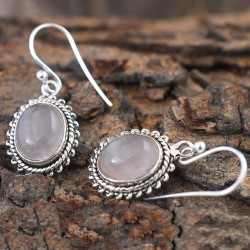 Pink Rose Quartz Oval Shape Cabochon Earring For Her!!