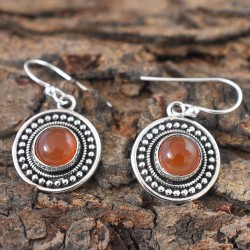 Pure Red!! Onyx Round cabochon Earring For Women