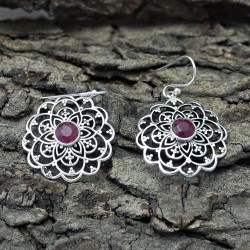 Red Corundum 925 Sterling Silver Dangle Earring