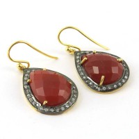 Extravagant !! Red Onyx, CZ 925 Sterling Silver Earring
