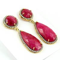 Instant Classic Ruby, White CZ 925 Sterling Silver Earring