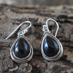 Rustic-Black Onyx 925 Sterling Silver Dangle Earring!!