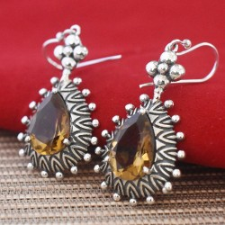 Yellow Citrine Gemstone 925 Sterling Silver Earring !!