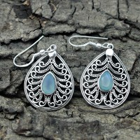 Alluring Aqua Chalcedony 925 Sterling Silver Earring