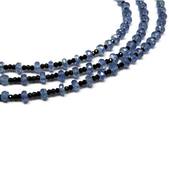 Awesome Silver Jewelry !! Black Spinal Tanzanite Black Sky Blue Color Beads Necklace