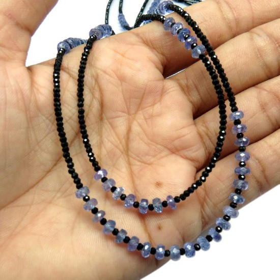 Gemstone Silver Beads !! Black Spinal Tanzanite Jewelry Beads Necklace