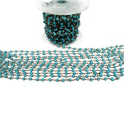 Beads Chain !! Handmade Silver Beads Created Turquoise Blue Color Silver Beads