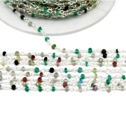 Indian Silver Gemstone Beads !! Multi Stone Gemstone Silver Rosary Beads