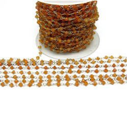 Awesome Beads !! Orange Color Carnelian Handmade Silver Rosary Gemstone Beads
