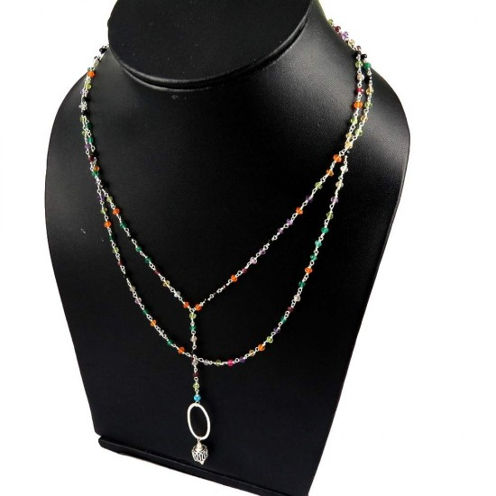 Wild Beauty !! Multi Color Beads 925 Sterling Silver Necklace