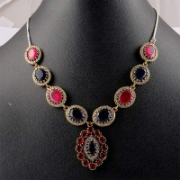 Victorian Necklace !! Multi Stones 925 Sterling Silver Necklace With Brass