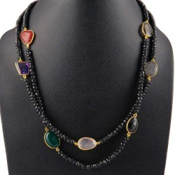 New Fashion Ladies !! Multi Stones 925 Sterling Silver Necklace