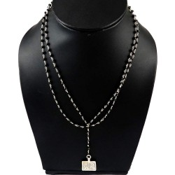 Opening Night !! Black Onyx 925 Sterling Silver Necklace