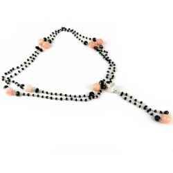 Keep Your Head High !! Black Onyx, Pink Opal 925 Sterling Silver Necklace