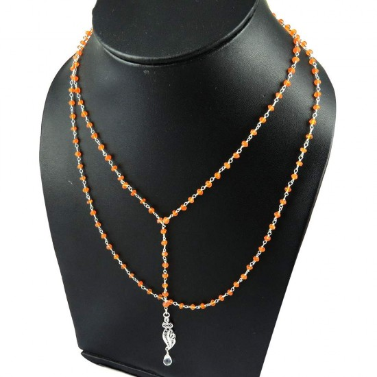 New Beads !! Carnelian, Crystal 925 Sterling Silver Necklace