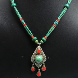 Colored Fashion Jewelry !! Coral, Turquoise 925 Sterling Silver Necklace