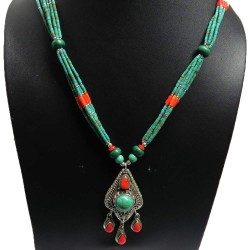 Exclusive Jewelry !! Coral,Turquoise 925 Sterling Silver Necklace
