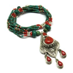Unique Designer !! Coral,Turquoise 925 Sterling Silver Necklace