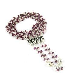 Paradise !! Beaded Garnet 925 Sterling Silver Necklace