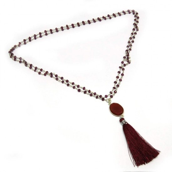 Simple Beauty !! Tassel Necklace Carnelian, Garnet Gemstone Necklace Silver Jewelry