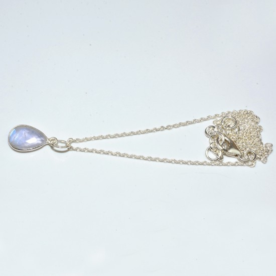 Ultimate Drop, Pear Shape White Rainbow Moonstone 925 Sterling Silver Necklace