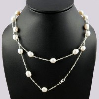 To Inspire !! White Pearl 925 Sterling Silver Necklace