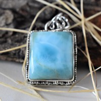 Cushion Shape Sky Blue Larimar 925 Sterling Silver Pendant