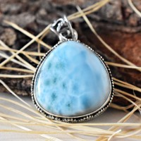 Free Shape Larimar Cabochon 925 Sterling Silver Pendant