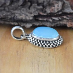 Glamorous Blue Chalcedony Sterling Silver Pendant