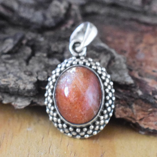 Red Sand Stone Oval Shape 925 Sterling Silver Pendant