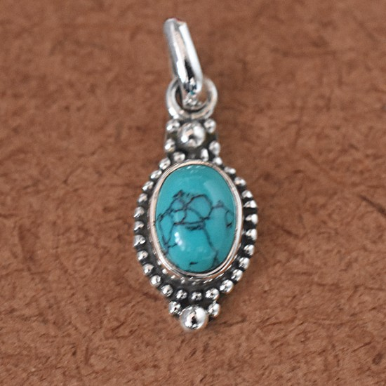 AAA Natural Tibetan Turquoise Oval Cabochon 925 Sterling Silver Pendant