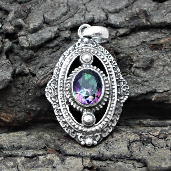 Alluring Mystic Topaz 925 Sterling Silver Pendant