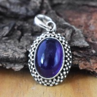 Alluring Oval Shape Amethyst 925 Silver Pendant
