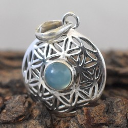 Blue Aqua Chalcedoney 925 Sterling Silver Pendant