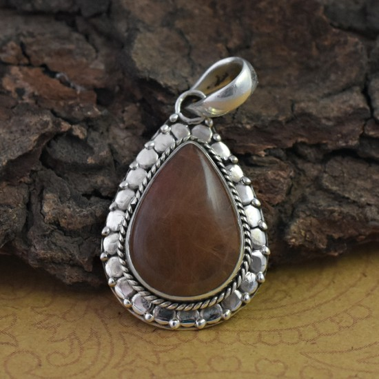 Awesome Golden Rutile 925 Silver Pendant
