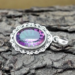 Awesome Mystic Topaz Cut Stone Silver Pendant