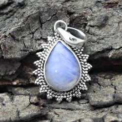 Awesome Rainbow Moonstone Cut Stone Silver Pendant