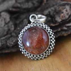 Awesome Red Sand Stone Round Cabochon Silver Pendant