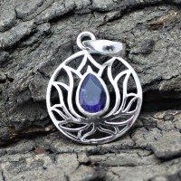 Blue iolite 925 Sterling Silver Pendant