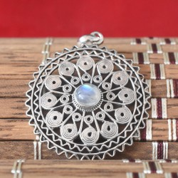 Blue Fire Natural Round Rainbow Moonstone Cabochon 925 silver pendant
