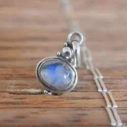 Blue Fire Rainbow Moonstone Oval 925 Sterling Silver Pendant!!
