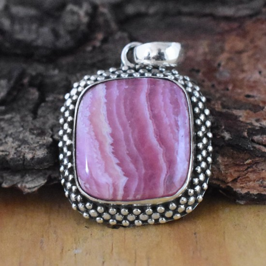 Engaging Rhodochrosite Square Shape Silver Pendant