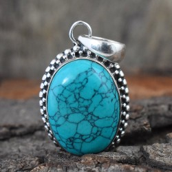 Green Turquoise Gemstone 925 Sterling Silver Pendant