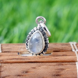 Natural Blue Fire Rainbow Moonstone Pear Shape 925 Sterling Silver Pendant